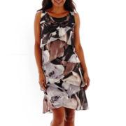 SL Fashions Sleeveless Floral Print Tulip-Tiered Dress