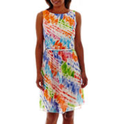 RN Studio by Ronni Nicole Sleeveless Watercolor Print Fit-and-Flare Dress