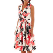 Jessica Howard Sleeveless V-Neck Floral Fit-and-Flare Dress