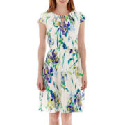 R&K Originals® Cap-Sleeve Floral Fit-and-Flare Dress