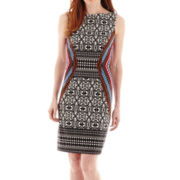 London Style Collection Sleeveless Aztec Print Sheath Dress