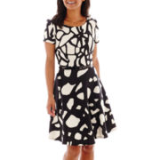 SL Fashions Short-Sleeve Scuba Twin Print Fit-and-Flare Dress