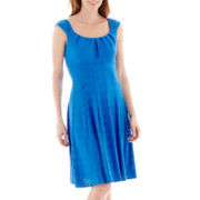 London Style Collection Cap-Sleeve Pleat-Neck Fit and Flare Dress