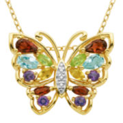 Multi-Gemstone and Diamond-Accent Butterfly Pendant Necklace