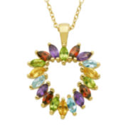 Multi-Gemstone 18K Yellow Gold Over Sterling Silver Heart Pendant Necklace