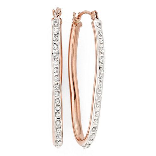Diamond Fascination™ 14K Rose Gold Wave Hoop Earrings
