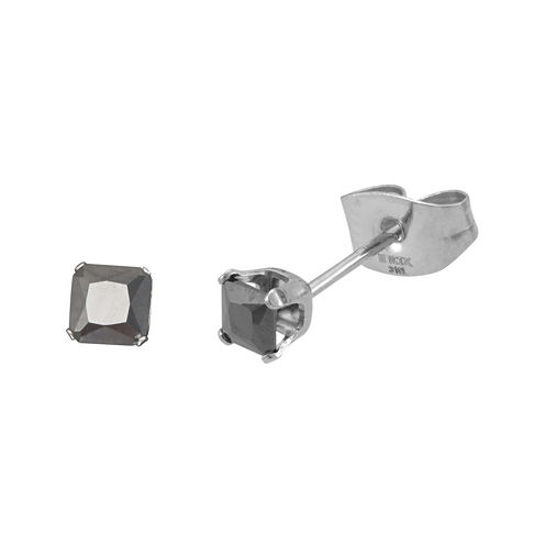 Black Cubic Zirconia 3mm Stainless Steel Square Stud Earrings