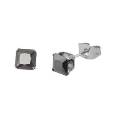 jcpenney.com | Black Cubic Zirconia 4mm Stainless Steel Square Stud Earrings