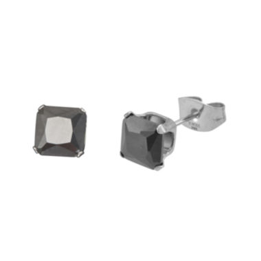 jcpenney.com | Black Cubic Zirconia 5mm Stainless Steel Square Stud Earrings