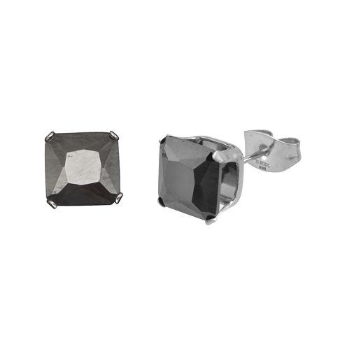 Black Cubic Zirconia 8mm Stainless Steel Square Stud Earrings