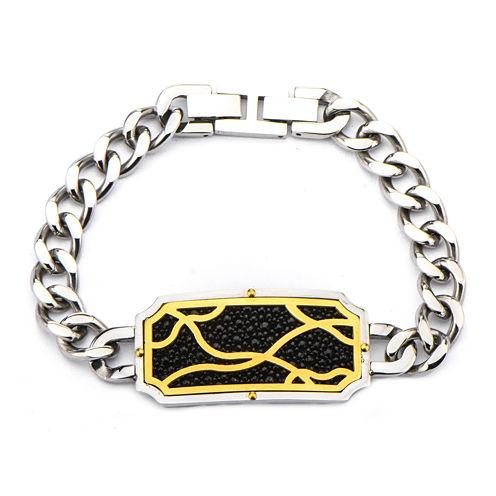 Inox® Jewelry Mens Black Stingray Leather Frame Two-Tone Curb Link Bracelet