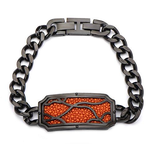 Inox® Jewelry Mens Orange Stingray Leather Frame Curb Link Bracelet
