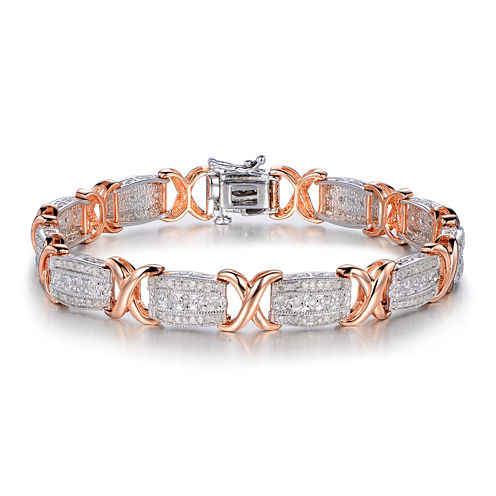 1 CT. T.W. Diamond Two-Tone X Link Bracelet