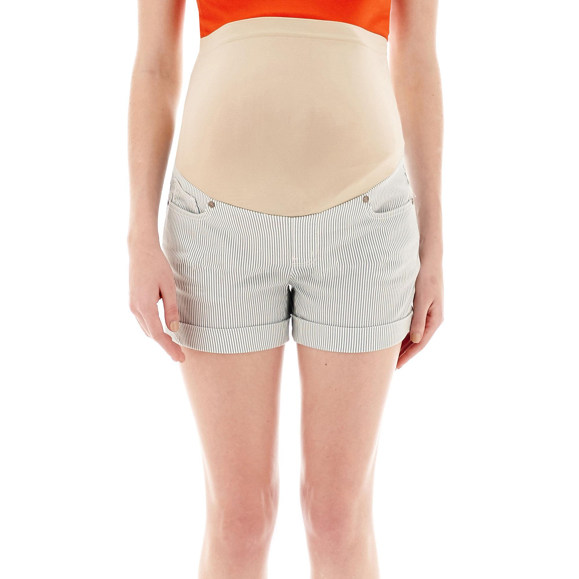 Tala Maternity Overbelly Roll Cuff Striped Denim Shorts plus size,  plus size fashion plus size appare