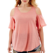 Living Doll Short-Sleeve Cold-Shoulder Top - Plus