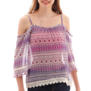 Arizona 3/4-Sleeve Cold-Shoulder Peasant Top