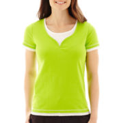 Made For Life™ Short-Sleeve Layered Y-Neck T-Shirt