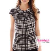 Worthington® Short-Sleeve Roundneck Twist-Front Top
