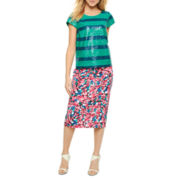 I 'Heart' Ronson® Sequin-Striped Crop Top or Print Pencil Skirt