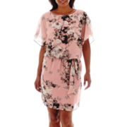 SL Fashions Floral Print Chiffon Blouson Self-Tie Dress