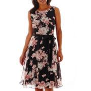 SL Fashions Sleeveless Boatneck Floral Print Ribbon Belt Dress
