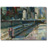 Trains and Buildings Canvas Wall Art