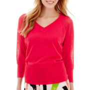 Worthington® 3/4-Sleeve V-Neck Pullover Top