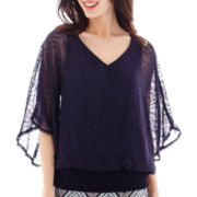 Alyx® 3/4-Sleeve Crochet-Trim Bubble Top