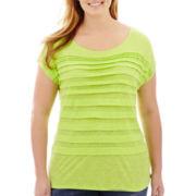 Liz Claiborne® Short-Sleeve Boatneck Tiered T-Shirt - Plus