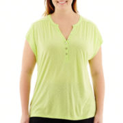 Liz Claiborne® Short-Sleeve Dot Henley Top - Plus
