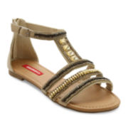 UNIONBAY® Gisella Jeweled Zip-Back Flat Sandals