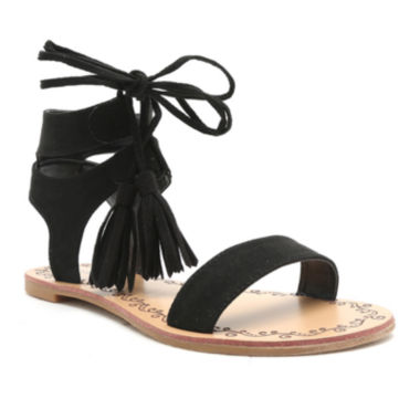 jcpenney.com | Qupid Lace-Up Tasseled Flat Gladiator Sandals