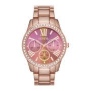 Geneva Womens Pink Rose-Tone Bracelet Watch