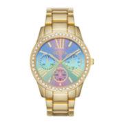 Geneva Womens Green Gold-Tone Bracelet Watch
