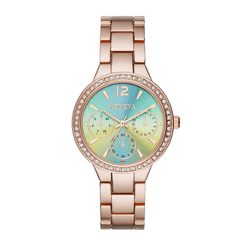 Geneva Womens Green Rose-Tone Bracelet Watch