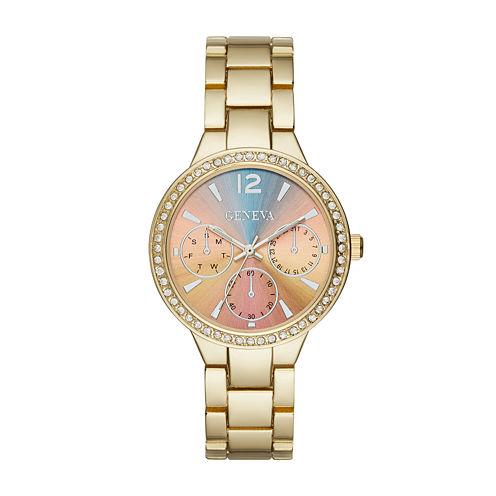 Geneva Womens Multicolor Silver-Tone Bracelet Watch