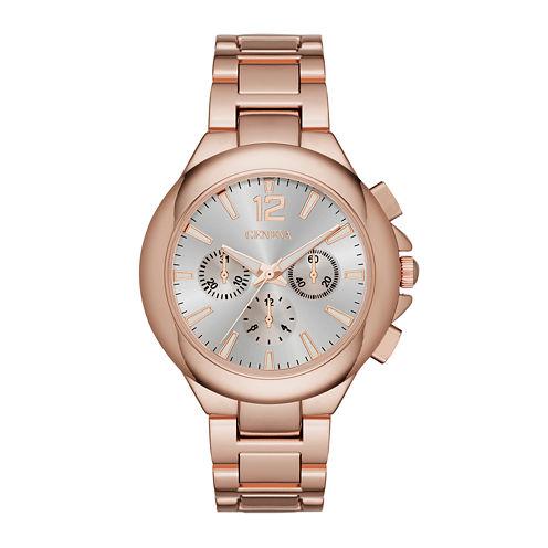 Geneva Womens Silver Dial Rose-Tone Watch