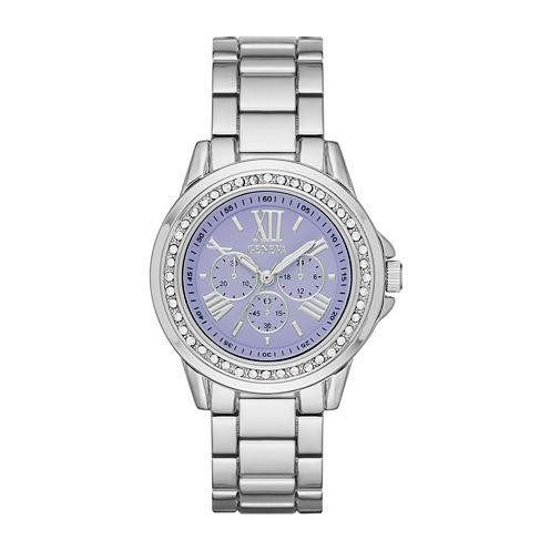 Geneva Womens Purple Dial Silver-Tone Watch