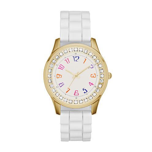Womens White Silicone Gold Tone Dial Strap Watch