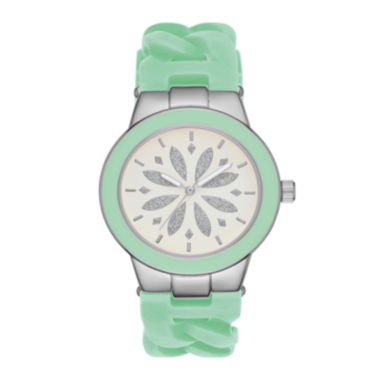 jcpenney.com | Womens Mint Chain Silicone Strap Watch