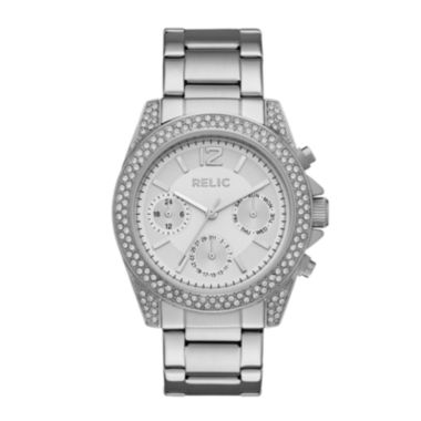 jcpenney.com | Relic® Womens Crystal Silver-Tone Bracelet Watch