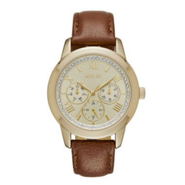 jcpenney.com | Relic® Womens Crystal Gold-Tone Brown Strap Watch