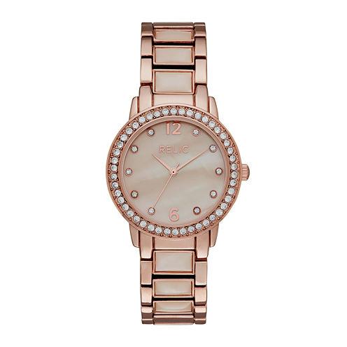 Relic® Womens Crystal Rose-Tone Bracelet Watch