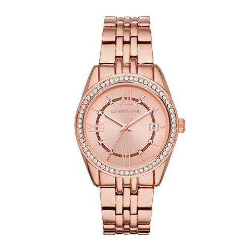 Liz Claiborne® Womens Crystal Accent Rose-Tone Bracelet Watch