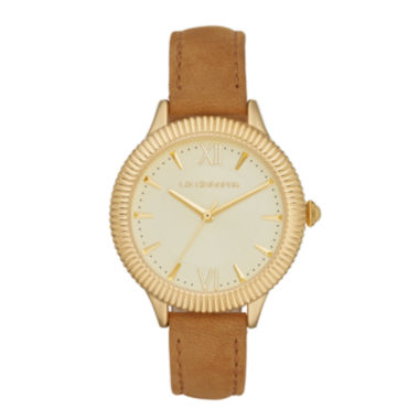 jcpenney.com | Liz Claiborne® Womens Gold-Tone Brown Leather Strap Watch