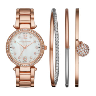 jcpenney.com | Liz Claiborne® Womens Crystal Accent Mother-of-Pearl Rose-Tone Bracelet Watch & 3-pc. Bangle Bracelet Set