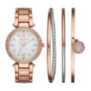Liz Claiborne® Womens Crystal Accent Mother-of-Pearl Rose-Tone Bracelet Watch & 3-pc. Bangle Bracelet Set