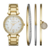 Liz Claiborne® Womens Crystal Accent Mother-of-Pearl Gold-Tone Bracelet Watch & 3-pc. Bangle Bracelet Set