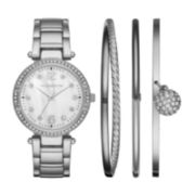 Liz Claiborne® Womens Silver-Tone Mother-of-Pearl 4-pc. Bangle and Watch Set