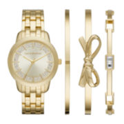 Liz Claiborne® Womens Gold-Tone 4-pc. Bangle and Watch Set